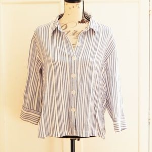 White Stag Striped Blue & White Button-Up Top Sz M